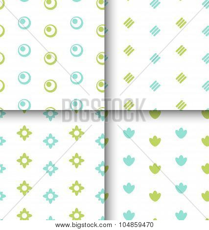Set Seamless Pattern with Geometric Texture, Colorful Kid Patter