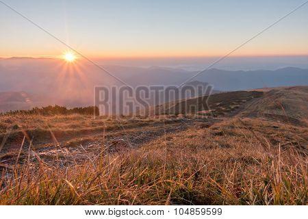 Amazing Sunrise On Mountain Ridge