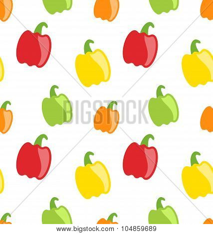 Seamless Pattern with Colorful Bell Peppers