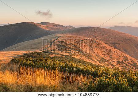 Mountain Ridge At Sunrise