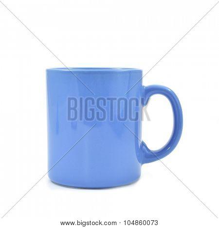 a blue ceramic mug on a white background