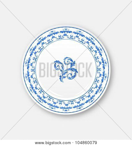 White plate with russian national ornament in gzhel style, empty