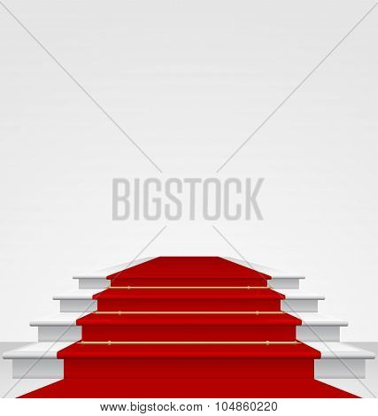 Stairs covered with red carpet, isolated