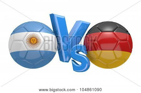 Soccer versus match between national teams Argentina and Germany