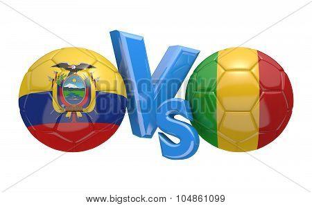 Soccer versus match between national teams Ecuador and Mali