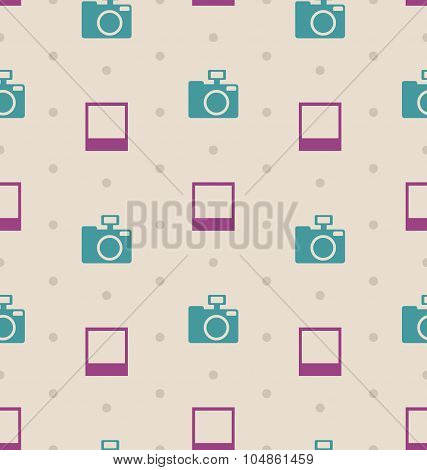 Retro Seamless Texture with Snapshots and Cameras, Vintage Patt