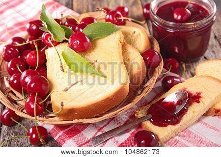 brioche with cherry jam