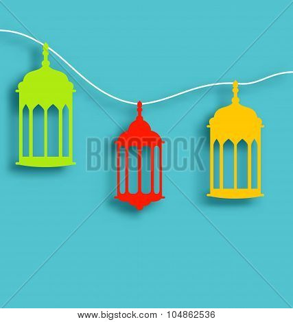 Colorful Arabic lamps with shadows for Ramadan Kareem