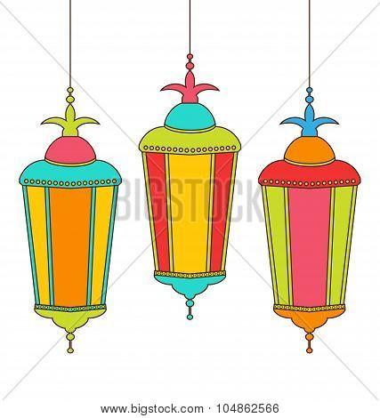 Colorful Arabic Lamps for Ramadan Kareem
