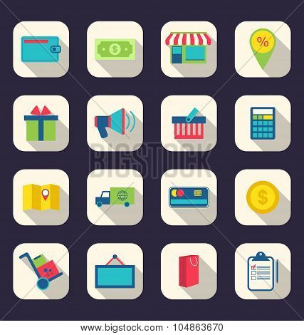 Flat icons of e-commerce shopping symbol, online shop elements a