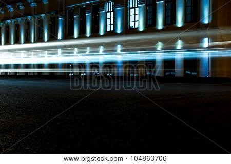 Bright Blue Car Light Trails