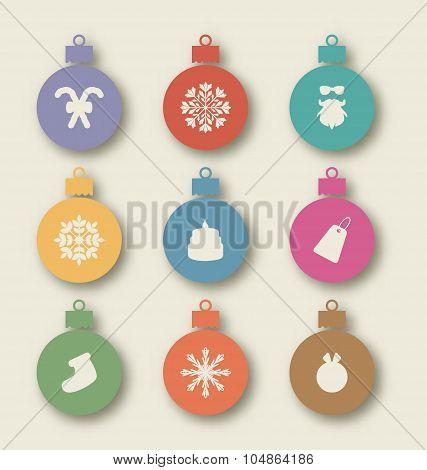 Set Christmas balls with traditional elements - caramel cane, sa
