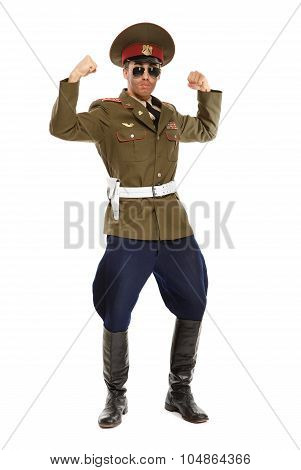 Portrait Of A Man Dressed As A Military Dictator. Isolated
