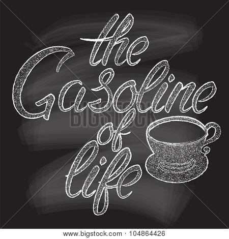 Iillustration of coffee cup silhouette and phrase.