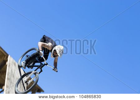 Bmx Biker Down The Ramp