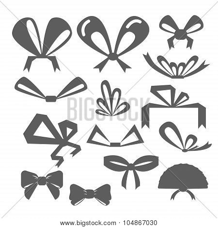 Set Festive Bows In Different Shapes. Silhouettes Of Bows Of Different Shapes.