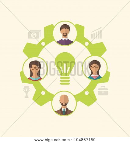 Idea of teamwork and success, business people enclosed in cogwhe