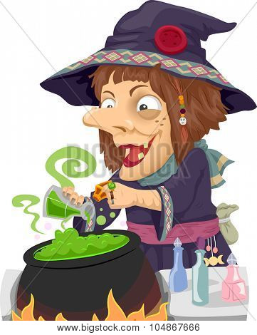 Illustration of a Witch Mixing Potions in a Cauldron