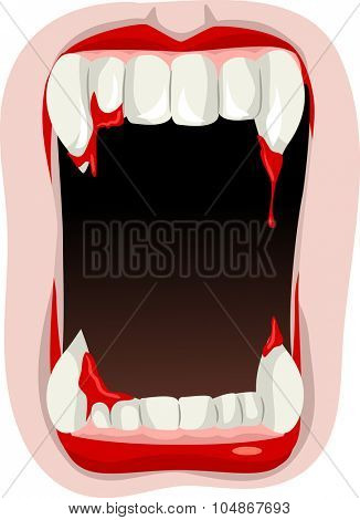 Illustration of a Vampire Opening His Mouth to Show His Fangs