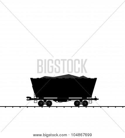 Illustration cargo coal wagon freight railroad train, black tran