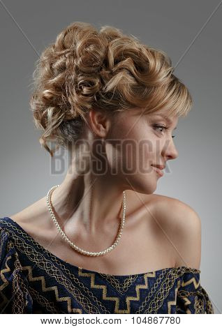Portrait Of A Beautiful Woman. Natural Beauty. Updo.