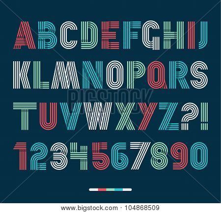 Retro Stripes Funky Fonts Set,trendy Elegant Retro Style Design. Vector Design.