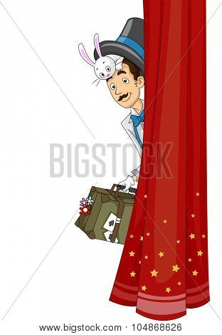 Illustration of a Magician Peeking from Behind a Curtain
