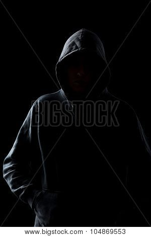Faceless Guy In Hoodie In The Darkness