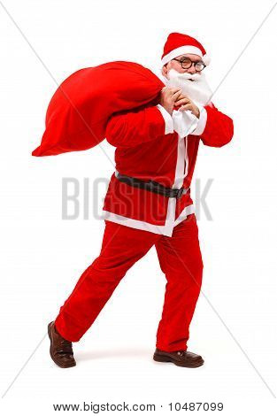 Santa Claus Walking With Full Bag