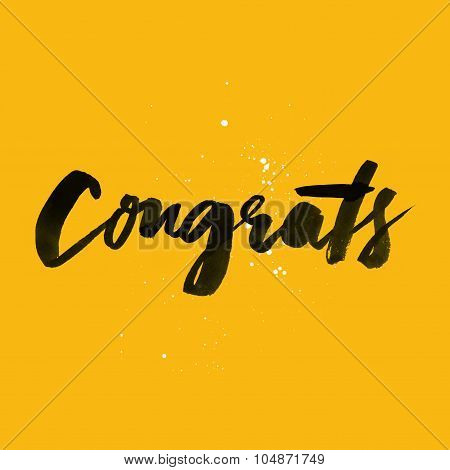 Decorative Card. Hand Lettering. Congrats