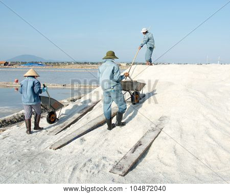 Vietnamese People Working On The Salt Field