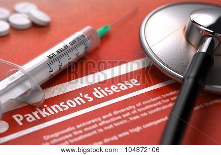 Parkinson's disease - Printed Diagnosis on Orange Background.
