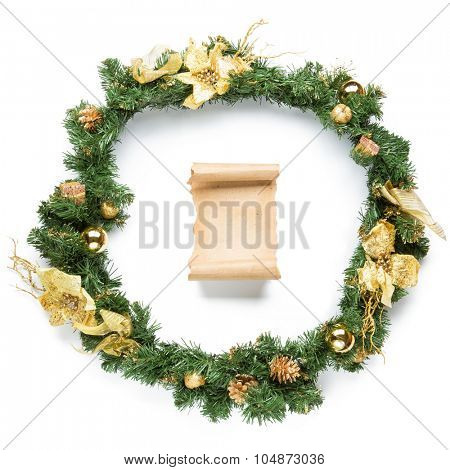Christmas garland with parchment Isolated over white background.