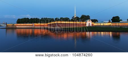 Peter And Paul Fortress In A White Night