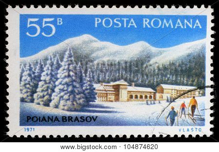 ROMANIA - CIRCA 1971: a stamp printed in Romania shows Poiana Brasov, circa 1971.