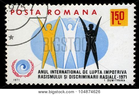 ROMANIA - CIRCA 1971: a stamp printed in Romania shows International Year against racism, circa 1971.
