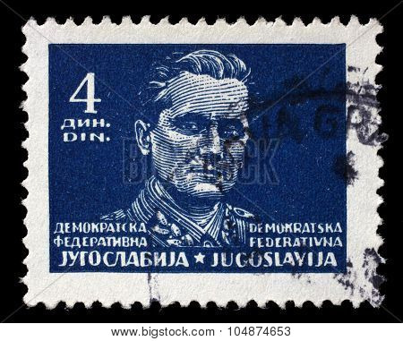 YUGOSLAVIA - CIRCA 1945: A stamp printed in Democratic Federation of Yugoslavia shows Marshal Josip Broz Tito, circa 1945