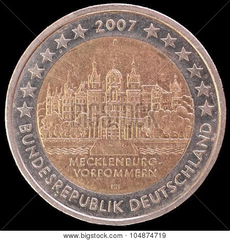 Commemorative Two Euro Coin Issued By Germany In 2007 Depicting The Schwerin Castle