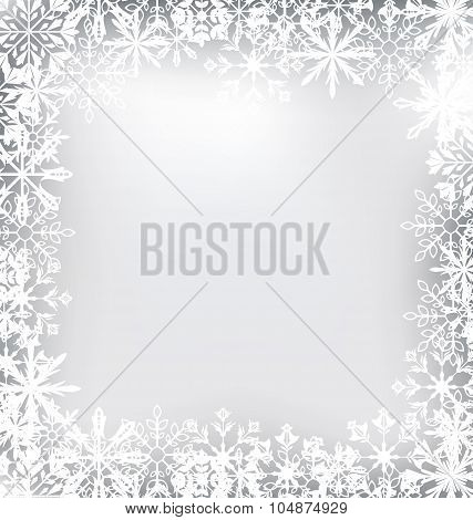 Frozen Frame Made of Snowflakes for Merry Christmas