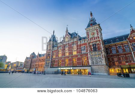 Amsterdam, Netherlands - May 8, 2015: Passenger At Amsterdam Central Train Station