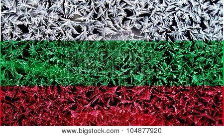 Flag of Bulgaria, Bulgarian flag on ice texture
