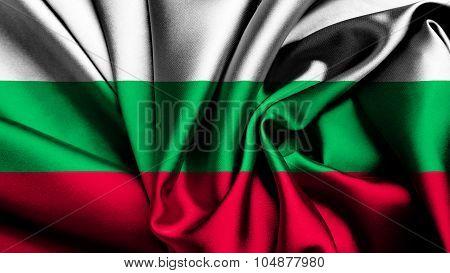 Flag of Bulgaria, Bulgarian flag painted silk texture