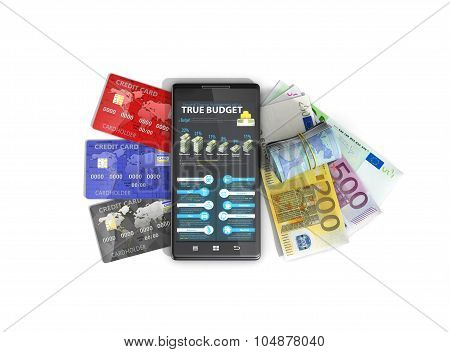 Credit Card, Euro And Phone. Finance Managment.