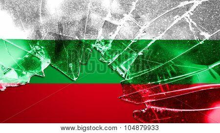 Flag of Bulgaria, Bulgarian flag painted broken glass texture