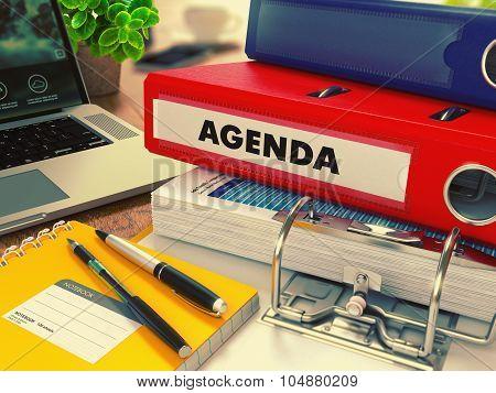 Red Office Folder with Inscription Agenda.
