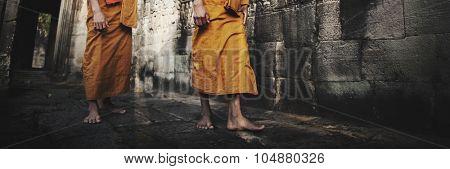 Contemplating Monk in Cambodia Culture Concept