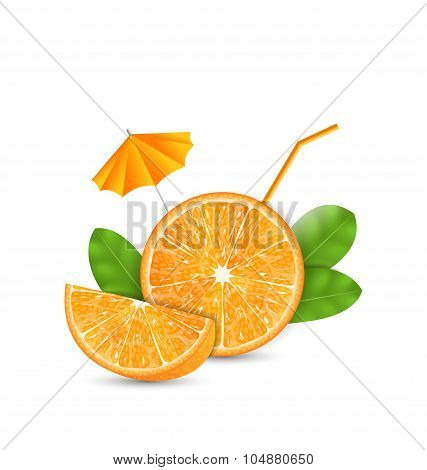 Orange as a Drink with a Straw and Umbrella