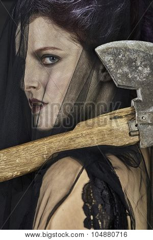 Mourning Widow with Axe - Close-up