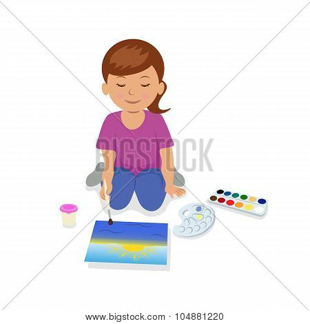 Teen girl sitting and painting a landscape.