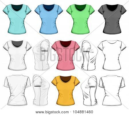 Women's t-shirt design template (front, back and side view). No mesh. Vector illustration